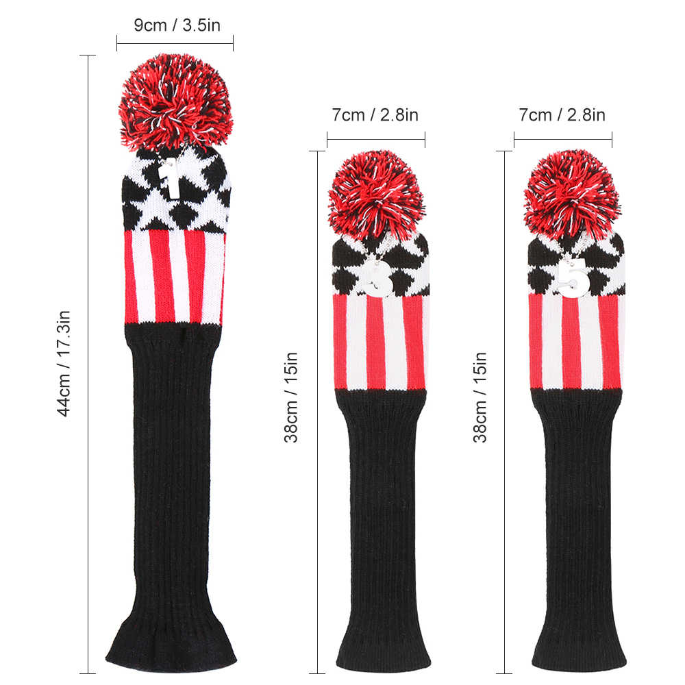 3 Pcs Golf Head Covers Set Wood Head Cover Numbers Pattern headcover Putter Sports Head Set Wood Driver Fairway Magnetic Closure