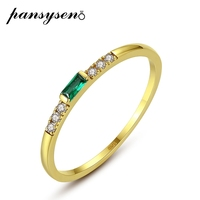 PANSYSEN Vintage14K Real Yellow Gold Emerald Gemstone Wedding Engagement Rings for Women Luxury Fine Jewelry Ring Wholesale Gift