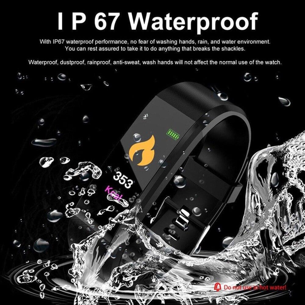 TEZER Health Bracelet 115Plus Heart Rate Blood Pressure Smart Band Fitness Tracker Smartband Bluetooth Wristband Smart Watch Men