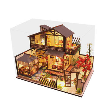 3D Wooden Dollhouses Ancient Town DIY Miniature Model Christmas Gifts Toys for Kids TB Sale