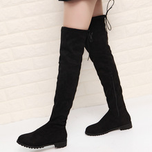 Flock Slim Fit Over The Knee Boots Women 2019 Winter Thigh Lace Up Ladies Low Heel Long High Botas