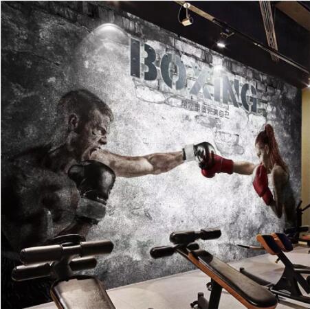 Custom Wallpaper Personality Mural Boxing Gym Beauty Background Wall Custom Large Mural Green Wallpaper Mural