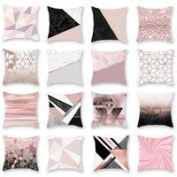 Casa 45*45cm fronhas estilo nórdico cojines pêssego pele veludo travesseiro cobre almofada rosa ouro em pó|Fronha| |  -