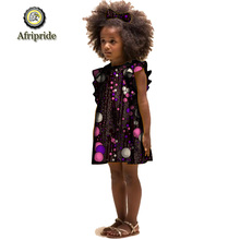 2019 AFRIPRIDE African Childrens Clothing with Bowknot hairpin print bazin  private custom Sleeveless summer dress S1940003