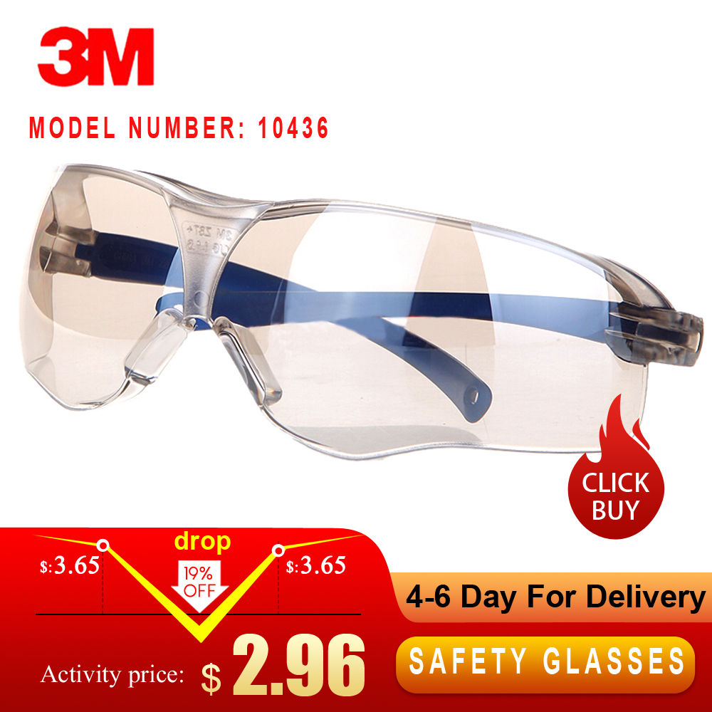 3M 10436 Safety-Glasses Goggles Working-Eyewear Pc-Lens Anti-Splash Riding Windproof title=