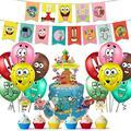 1 комплект губка вечерние принадлежности для маленьких мальчиков или девочек Боб латексные шары баннер на день рождения с мультяшную тему т...