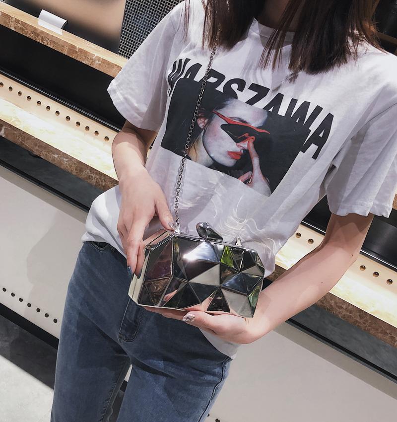 Hexagon Women Handbags Metal High Quality Clutches Fashion Geometric Mini Party Black Evening Purse Silver Bags Gold Box Clutch (15)