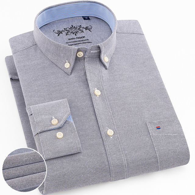 Men's Plus Size Casual Solid Oxford Dress Shirt Single Patch Pocket Long Sleeve Regular-fit Button-down Thick Shirts 8