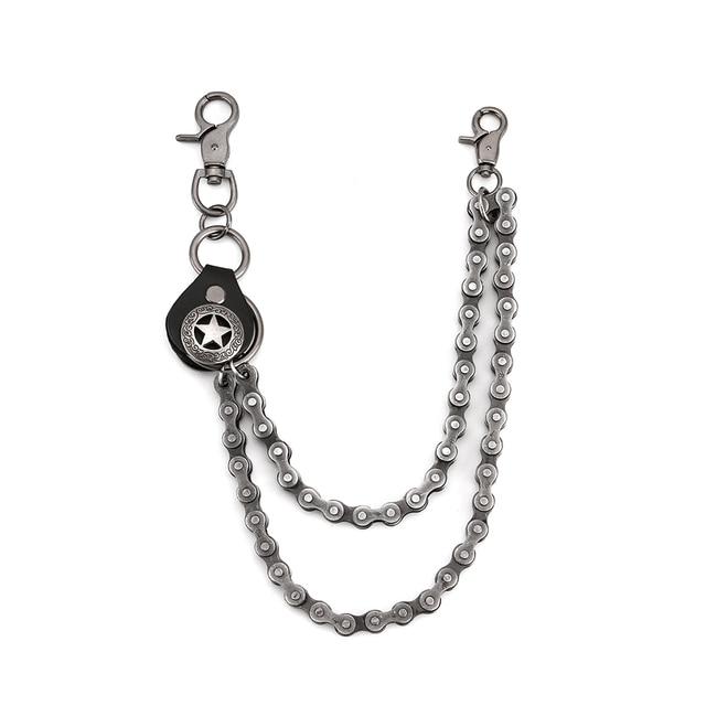 Erkek anahtarlık Jean Biker cüzdan zincirler gümüş Metal menteşe kemeri kaya Hip Hop sokak Punk kaplama perçin pantolon zincirleri DR82