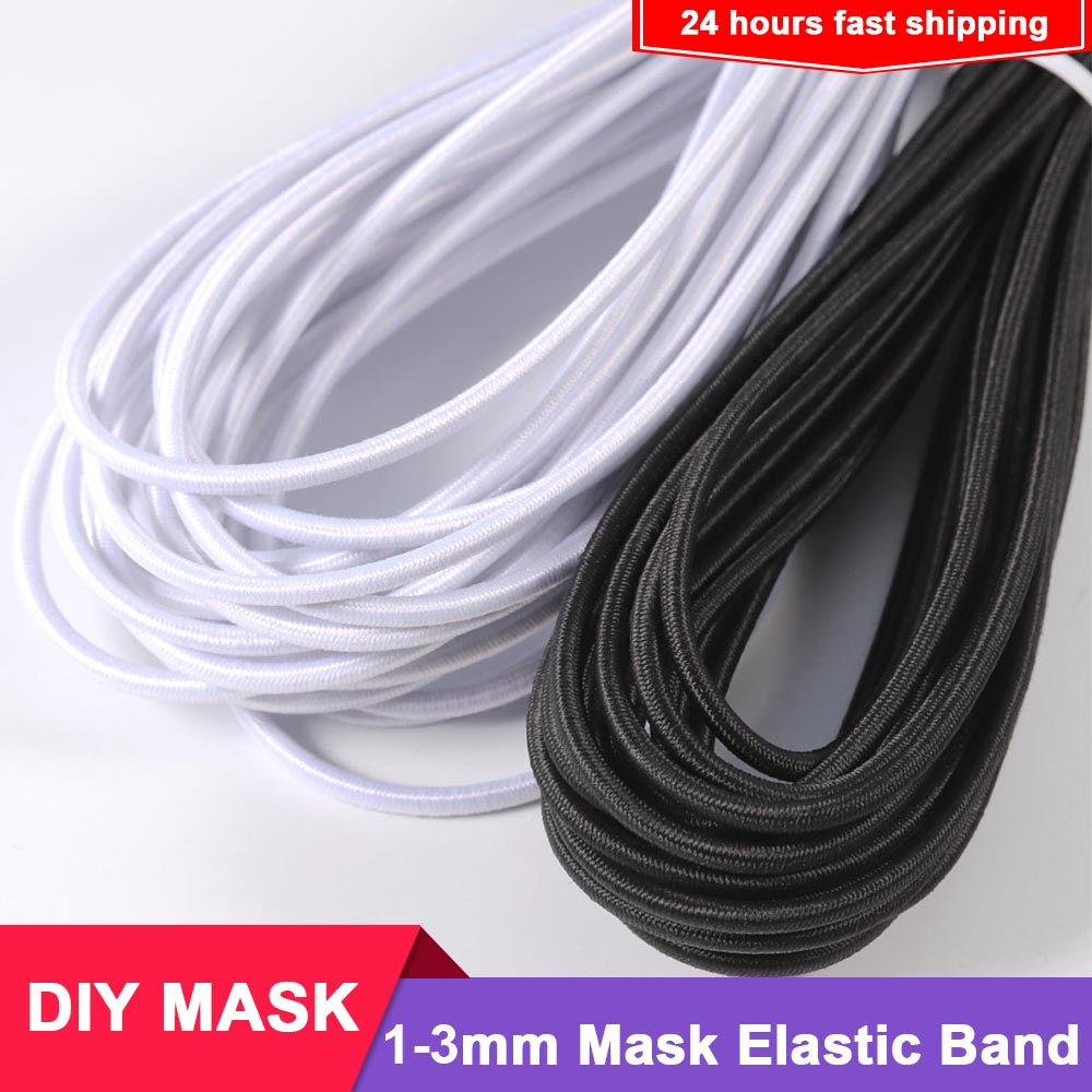 5/10/15m 1-3mm Latex Polyester Mouth Mask Round Elastic Band Mask Rope Rubber Band String Mask Ear Cord For DIY Mask Wholesale