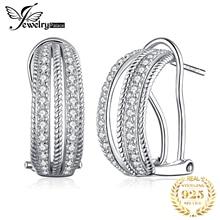 JewelryPalace Vintage halat kübik zirkonya klip küpe kadınlar için 925 ayar gümüş küpe takı yapımı gümüş küpe