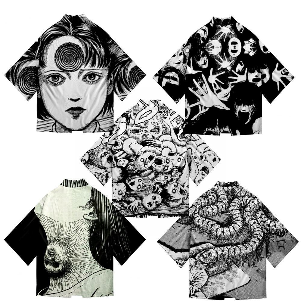 Junji Ito 3D Printing Anime Japanese Kimono Haori Yukata Cosplay Women/Men Fashion Summer Casual Short Sleeve Streetwear Shirt(China)