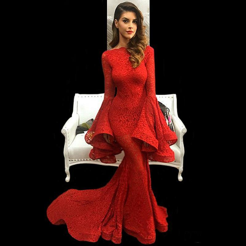 Sexy Red Lace Evening Dresses 2019 With Puffy Poet Long Sleeves Robe De Soiree Prom Vintage Women Formal Gowns Evening Dress