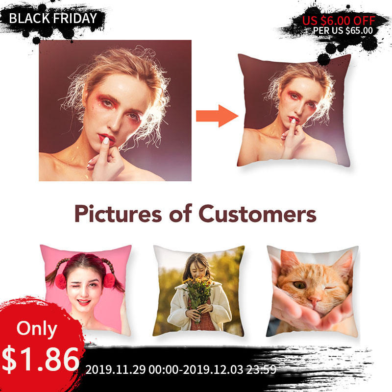 Fuwatacchi Private Cushion Cover Selfie Photo Customization Pillow Cover Customize Personalized Linen Square Pillow Case 45*45cm
