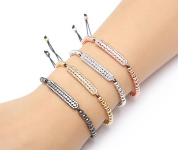 gold silver micro pave cz Cubic Zirconia rope adjusted Copper Beads Bracelet ur3 Charm Braided Bangles Party women image