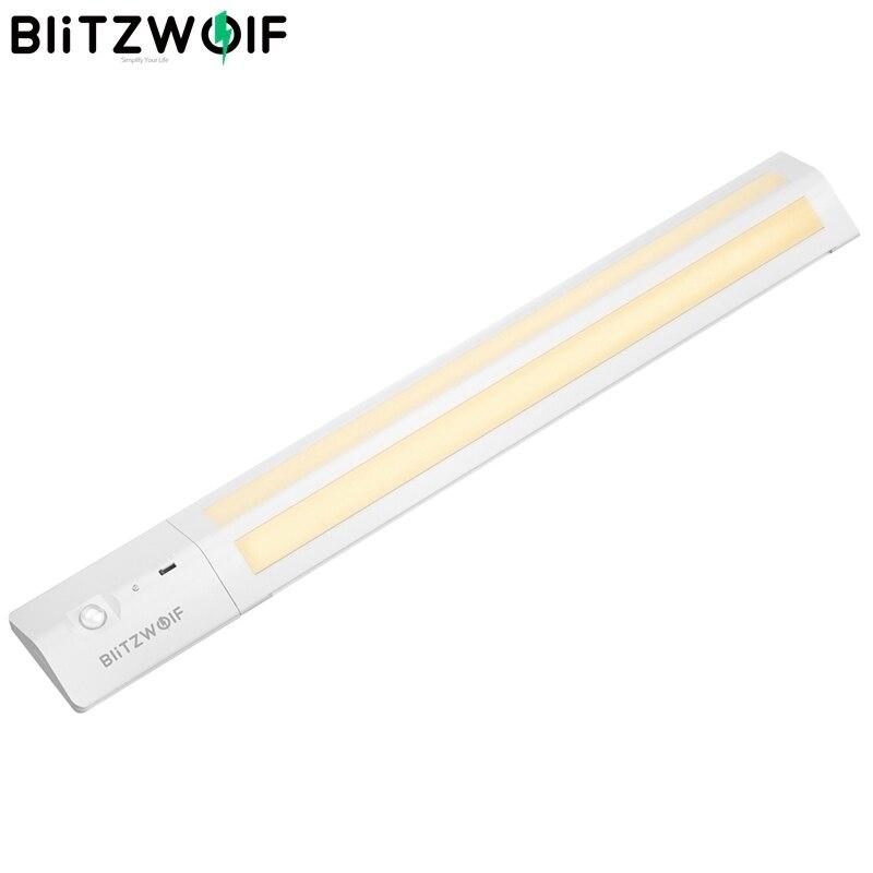 Blitzwolf BW-LT8 sensor de movimento led sob a luz do armário bateria de lítio removível 3000 k temperatura de cor luz da noite branco quente