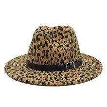 Тренд унисекс плоские полями шерсть фетр Джаз Fedora шляпы мужские и женские леопардовые зерна кожаный ремешок Декор Трилби Панама Формальные шляпы