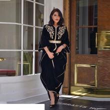 Элегантные велюровые вечерние платья в арабском стиле с длинными