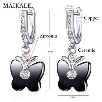 MAIKALE Cute Butterfly Shape Ceramic Earrings Cubic Zirconia Golden/Silver Dangle Drop Earrings for Women Fashion Jewelry Gifts 3