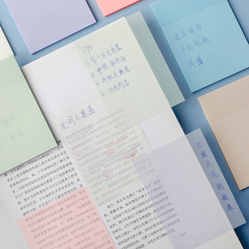 Yisuremia NEW Arrival Transparent 50 Sheets Waterproof PET Memo Sticky Note Paper Daily To Do It Notepad Paperlaria Stationery