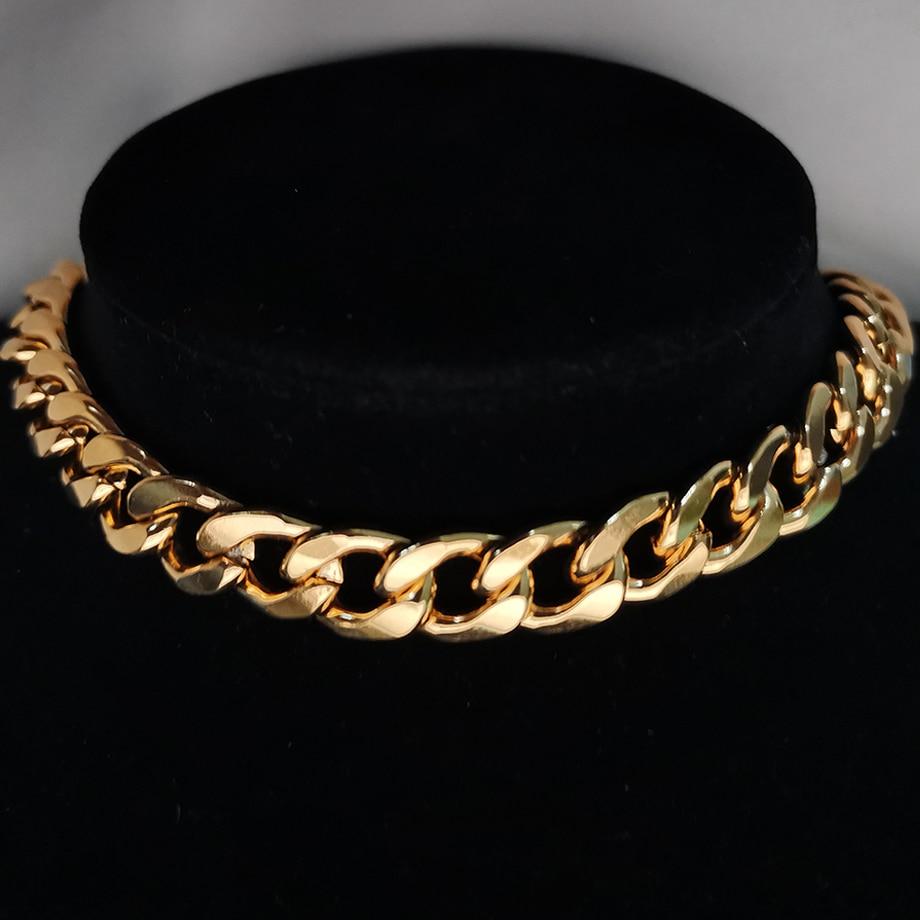 Punk cubain collier ras du cou collier déclaration Hip Hop grand gros acier inoxydable couleur or épais chaîne collier femmes bijoux