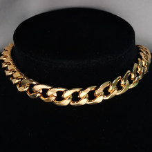 Punk cubana gargantilha colar colar instrução hip hop grande chunky aço inoxidável cor do ouro grosso corrente colar feminino jóias