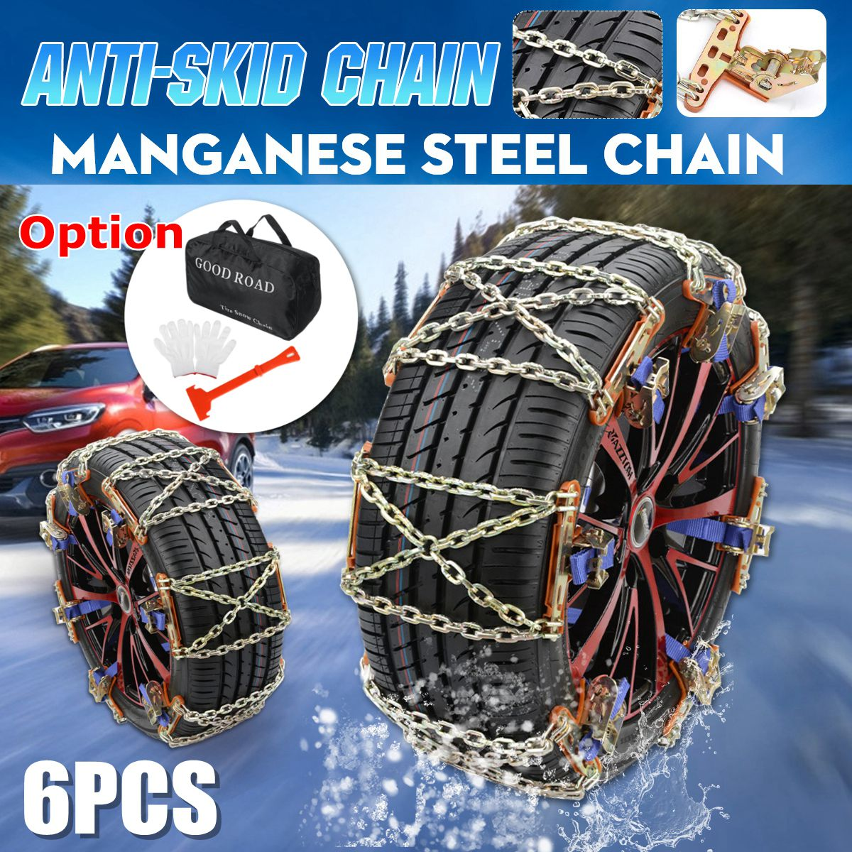 4 6 12 pcs/set Universal Steel Truck Car Wheels Tyre Tire Snow Ice Chains Belt Anti-skid Wheel Chain Road Safe for + storag bag image