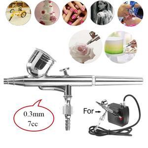 1 pulverizador de aerógrafo 0,3mm 7CC, Mini aerógrafo, pistola de pintura, pulverizador de Arte de uñas, herramienta de maquillaje, decoración de pasteles, aerógrafo, modo de tatuaje, pintura