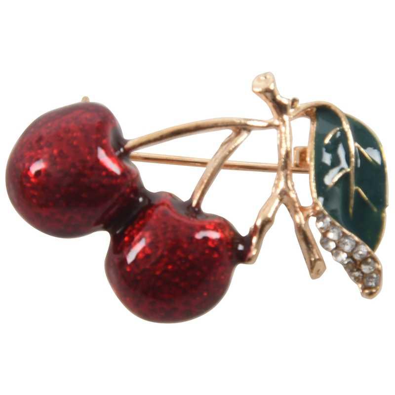 Модные двойные вишневые стразы, брошь, булавка, филиал, Cerise, фрукты, зеленый лист, значок, ювелирные изделия, рождественский подарок, броши, Розочка, брошь