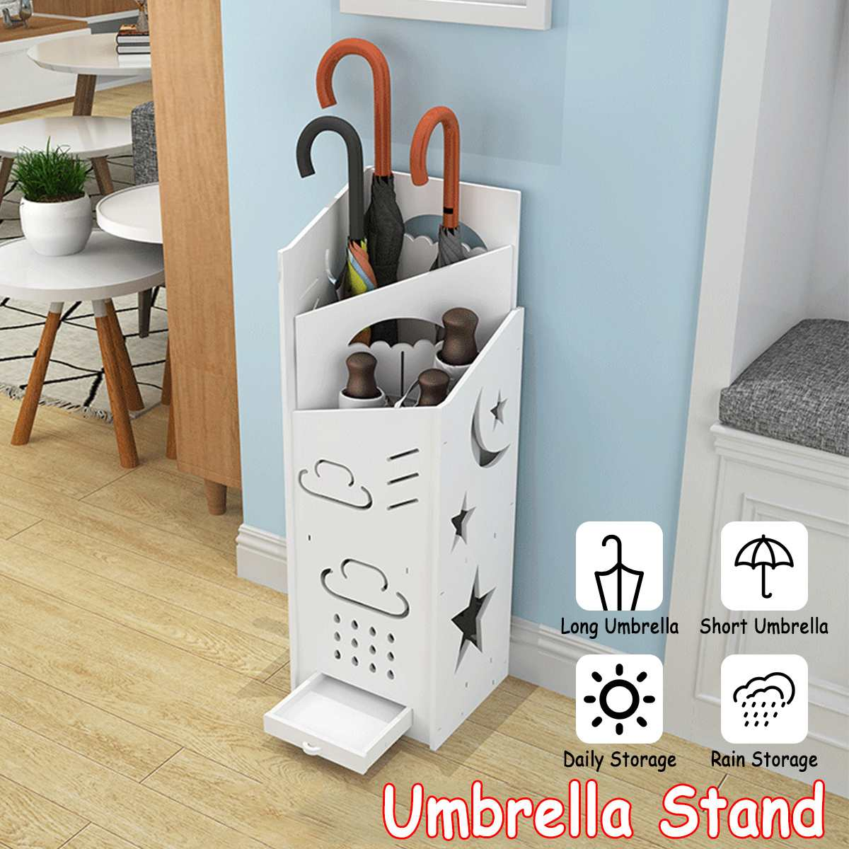 75x22cm Fall To The Ground-creative Umbrella Barrel Family Expenses Umbrella Stand Storage Hook Home Office
