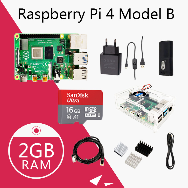 Original Raspberry Pi 4 Model B Kit Pi4 2G board Micro HDMI Cable Power Supply With Switch Case With Fan Heat Sinks image