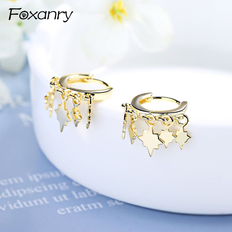 Foxanry Prevent Allergy 925 Sterling Silver Stud Earrings for Women Couples Charms Simple Tassel Lightning Earring Party Jewelry