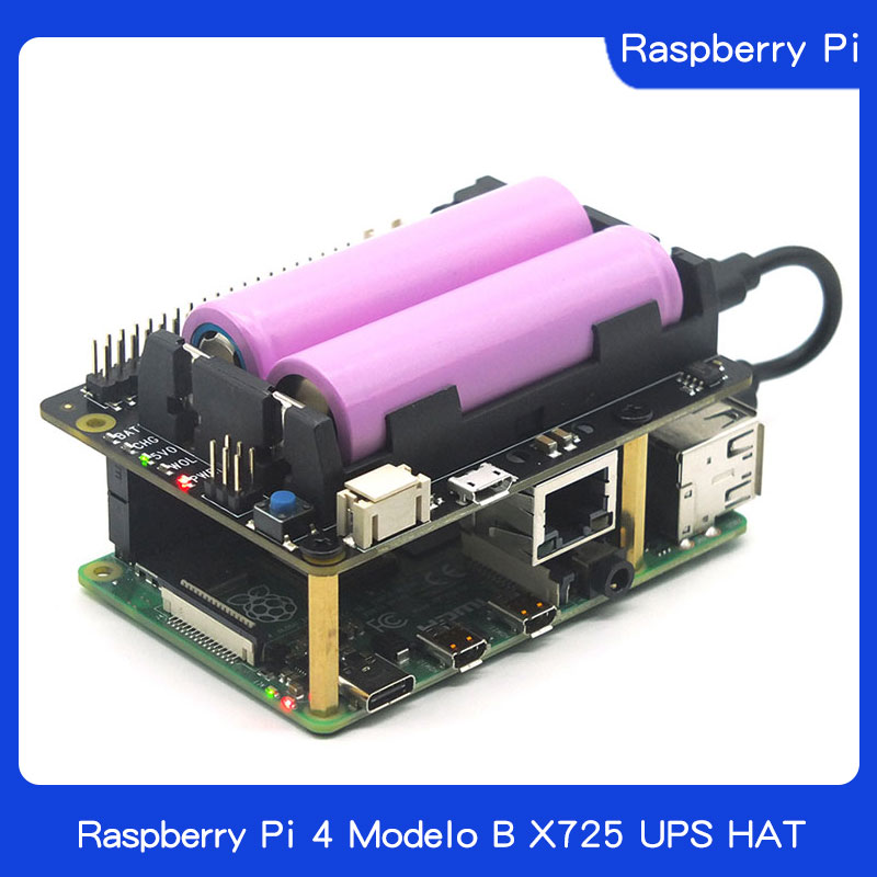 Raspberry Pi 4 Model B X725 UPS HAT (18650 Power Max 5.1V 8A Output )+Safe Shutdown+Wake On Lan Power Management Expansion Board