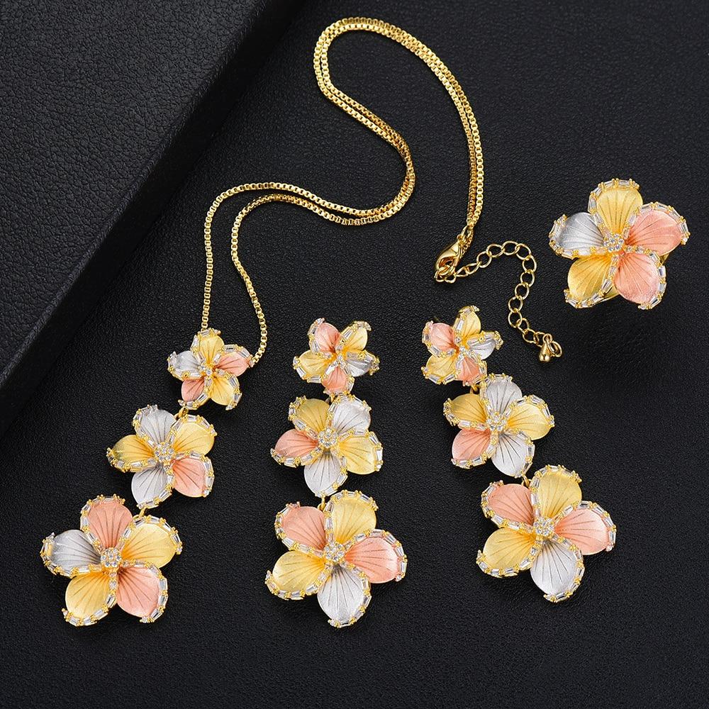 LARRAURI haute qualité fleur branche pendentif ensemble de bijoux collier boucles d'oreilles anneau de luxe brillant dames mariage saint valentin cadeau
