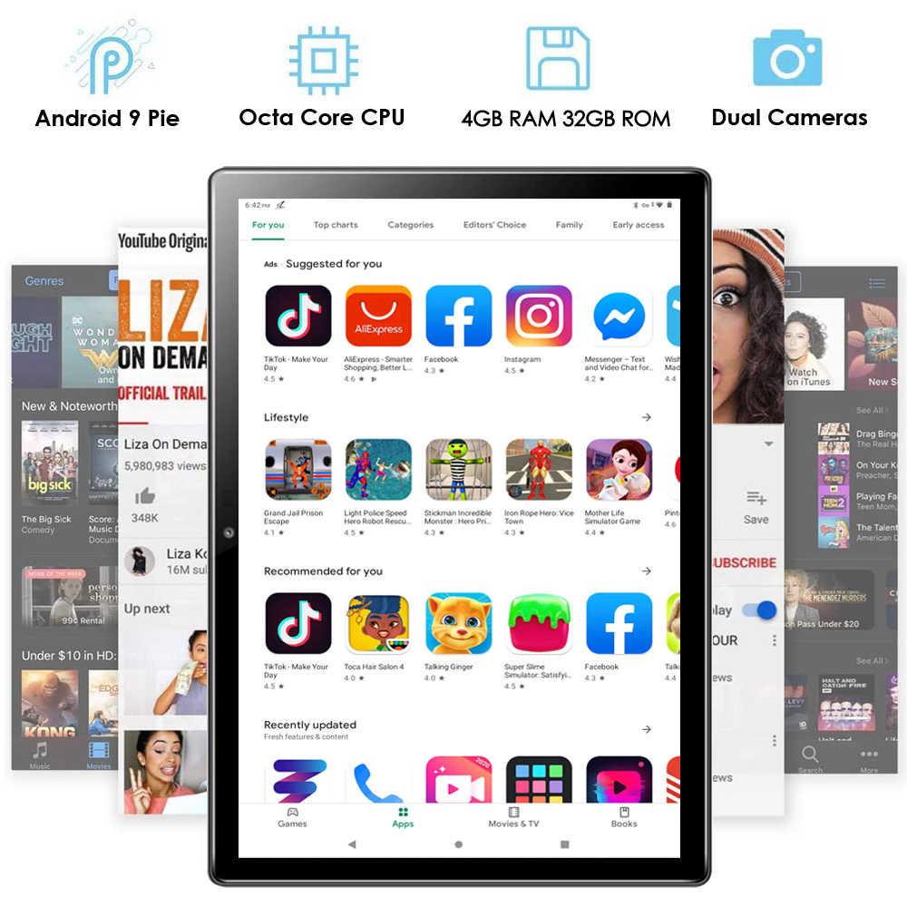 Nuevo 10 pulgadas tablet wifi Octa Core Android 9 pastel 4GB RAM 32GB ROM 1280x800 IPS 4G FDD LTE 5.0MP cámaras Bluetooth GPS Pad 10,1