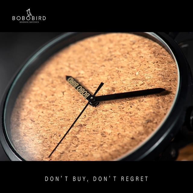 BOBO BIRD reloj de madera para hombre, relojes de pulsera de cuarzo con movimiento japonés, masculino
