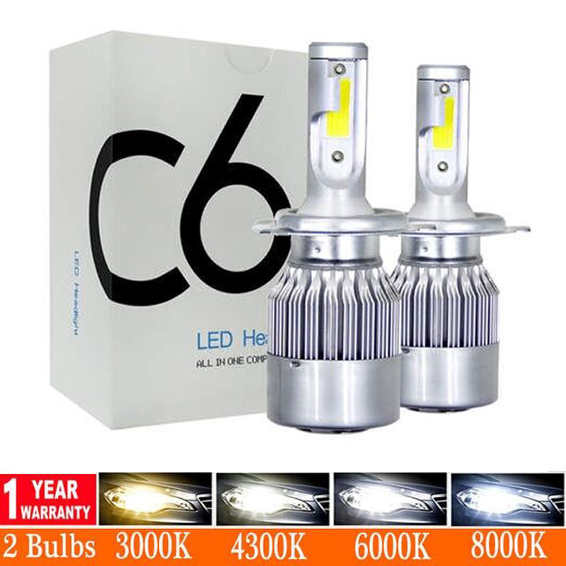 8000K Ice Blue H7 LED 12000LM Mini Car Headlight Bulbs H4 LED H11 H1 9012 Headlamps Kit 9005 HB3 9006 HB4 COB Auto LED Lamps