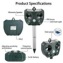 Zewnętrzny ultradźwiękowy odstraszacz szkodników słonecznych zwierząt odstraszacz myszy czujnik ogród ptak kot pies Fox odstraszający lampa Led na komary tanie tanio CN (pochodzenie) Pluskwy MICE Ultrasonic Pest Repellers 15 5cm 0 4KG 15 * 6 * 16cm 15 6 * 15 * 9 5cm AA NiMH battery No 5 rechargeable battery