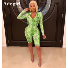 Adogirl Sexy Snake Skin Print 2 Piece Suit Long-sleeved Zipper Trench Coat+Tight V-neck Sling Jumpsuit Casual Sporting Tracksuit(China)