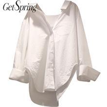 Getsspring damska koszula nieregularna z długim rękawem bawełniana biała bluzka damska Plus rozmiar Casual luźna bawełniana biała bluzka damska tanie tanio GETSRING COTTON Suknem Skręcić w dół kołnierz Przycisk Stałe Pełna NWF510 Na co dzień Wite S M L XL
