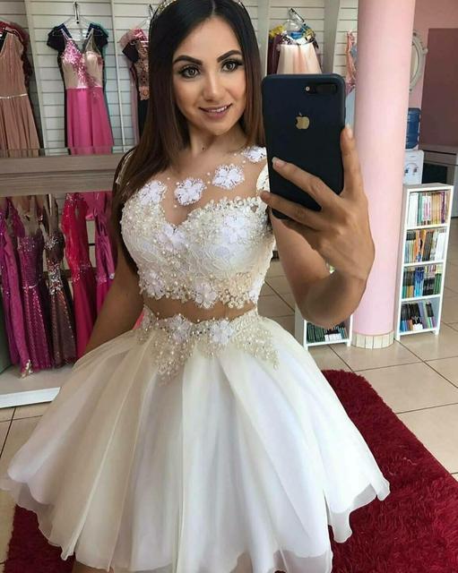 Elegant 2 Pieces Short A-Line Lace Homecoming Dresses Tulle Knee Length Zipper Back Graduation Dresses for Juniors