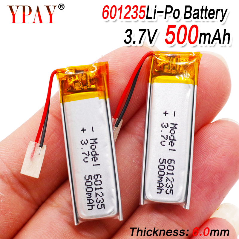 3.7V 500mAh Rechargeable Battery 601235 Lithium Polymer Li-Po ion batteries For DIY Mp3 GPS PSP bluetooth Headphone Headset(China)