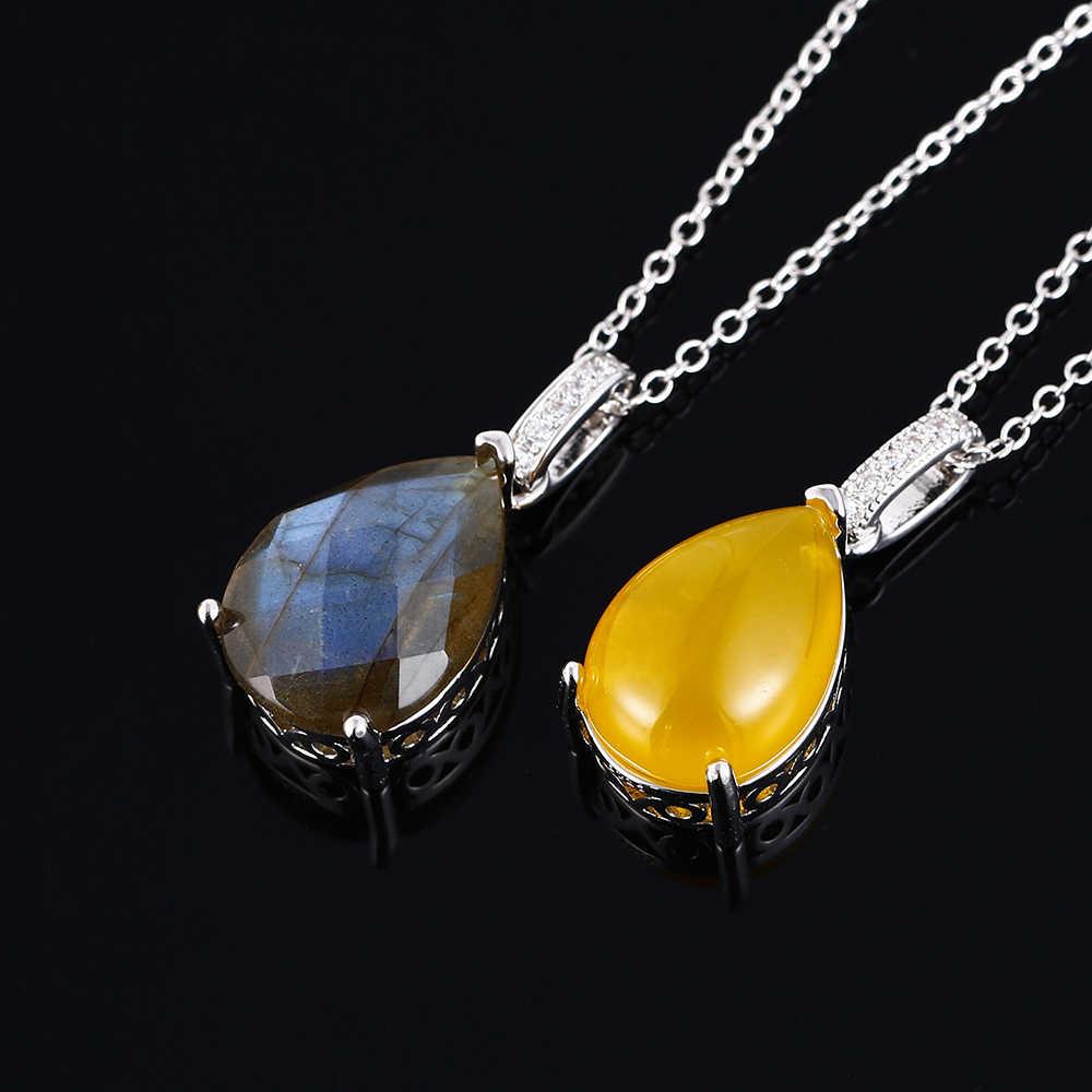 สร้อยคอจี้เงินขนาดใหญ่ 13*18 มม.Labradorite และสีเหลืองอาเกตหินจี้สร้อยคอของขวัญครบรอบ