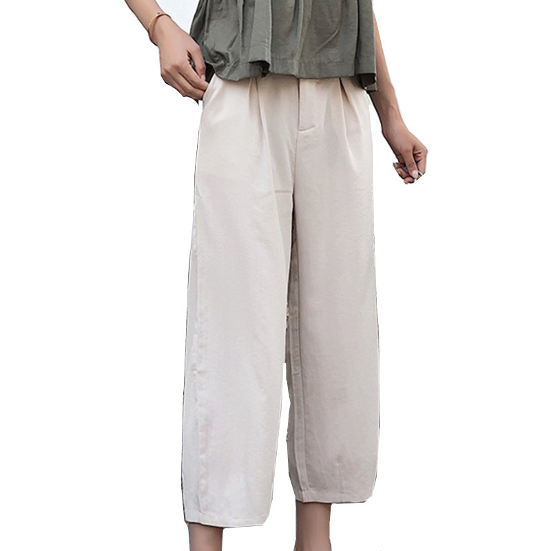 Trouser woman high waist   pants   straight-length   wide     leg     pants   women loose nine-minute casual trousers women slim thin