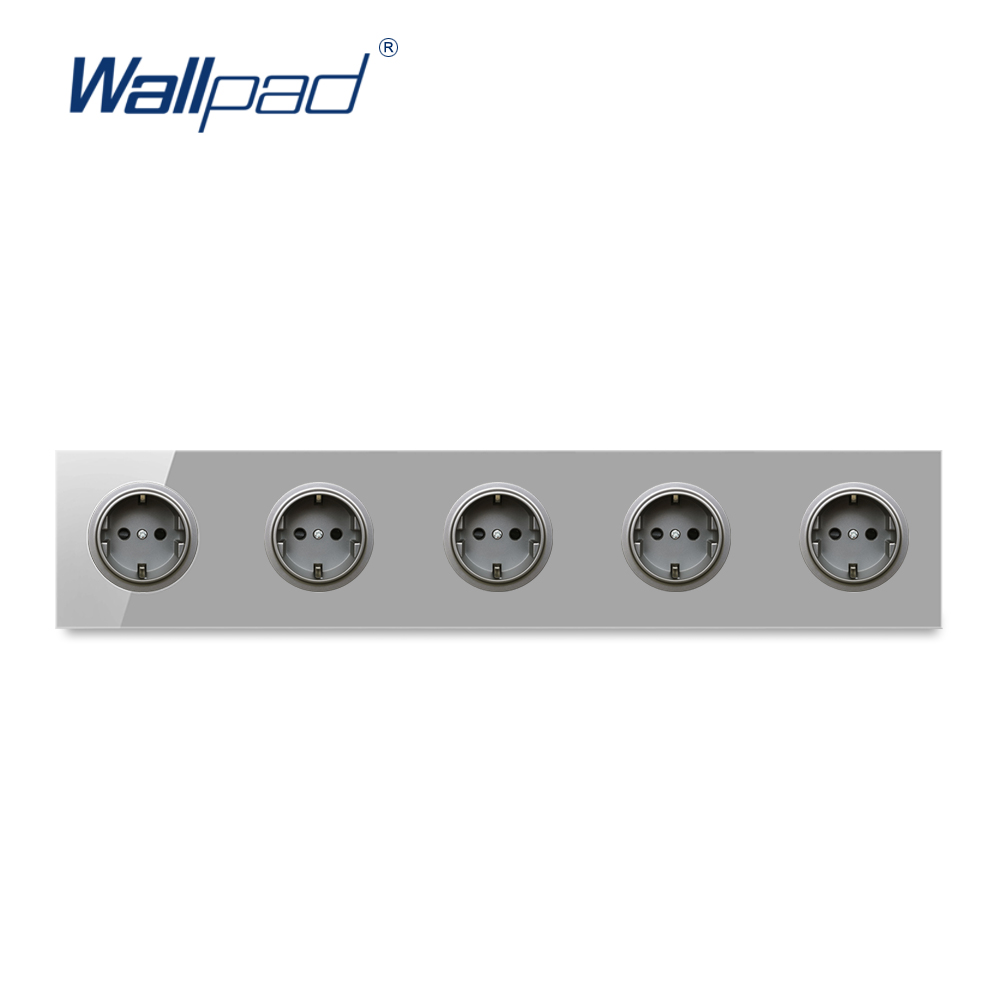 Wallpad 5 EU German Wall Power Socket Outlet Crystal Glass Panel 16A Grounded With Child Protective Lock