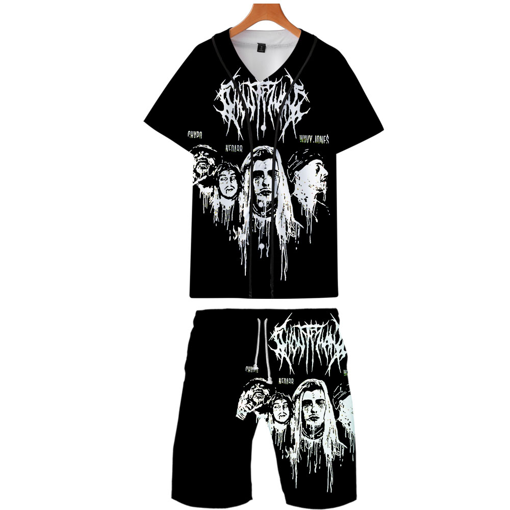 Mens Tracksuits 2019 Ghostemane Gothic Fashion Shirts+Shorts Set Summer Casual 3D Shirt Homme Short Sleve Hawaiian Suit Sets