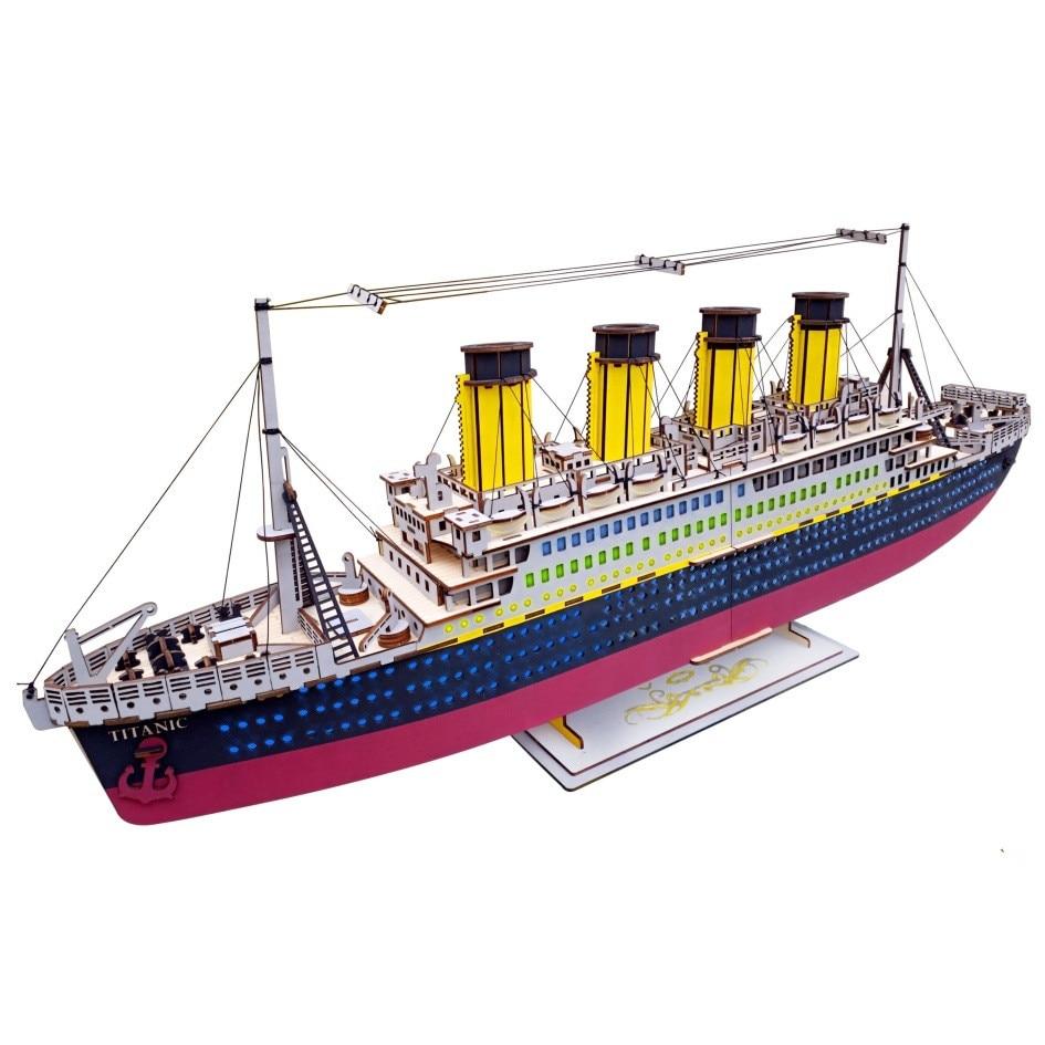 navio titanic diy 3d madeira quebra cabeca woodcraft conjunto kit de corte brinquedos de madeira para