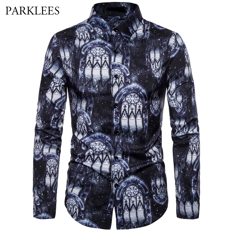 Spring And Autumn Printing Nightclub Party Long Sleeve Shirt Men' S 2019 New Trends Casual Street Cotton Dress Shirt For Men