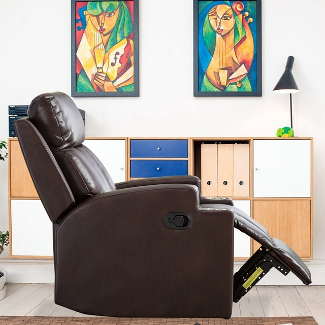 Leather Recliner Chair with 2 Cup Holders for Contemporary Theater Seating 3
