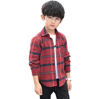Bluzki dla chłopców wzór w kratkę bluzka chłopięca z długim rękawem dziecięca koszula dla chłopców wiosna jesień odzież dziecięca dla chłopców tanie i dobre opinie Honikuyi Na co dzień COTTON Poliester Pełna Pasuje prawda na wymiar weź swój normalny rozmiar Suknem Chłopcy Plaid